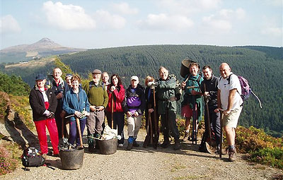 Mountain Meitheal Volunteers on Ride Rock on the Wicklow Way